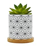 Cute Modern Geometric Style Ceramic Succulent Cactus Flower Plant Pots with Bamboo Tray for Home Garden Office Decoration (Plant Not Included)