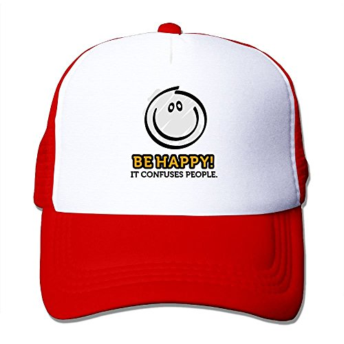 Happy Cap Face (Be Happy and A Smile Cartoon Face Big Foam Snapback Caps Mesh Back Adjustable Cap)