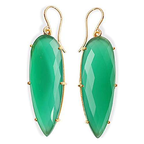 Gold Vermeil Onyx Earrings - Long Pear Shape Green Onyx Hadcrafted Claw set Earring in 18K Gold VERMEIL