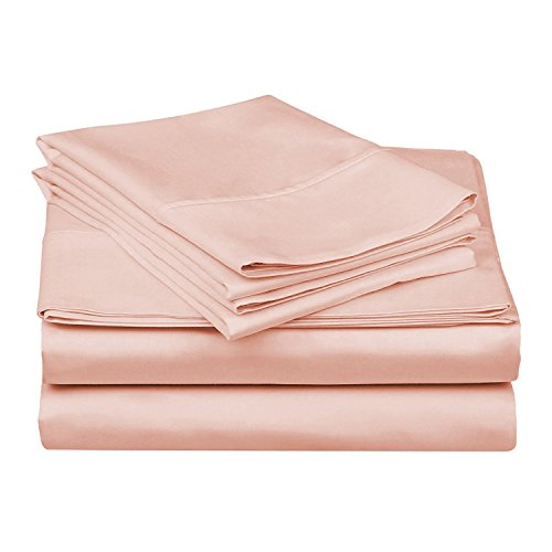 300 Thread Count - Genuine Extra Long Staple (ELS) Premium Combed Cotton Bed Sheet Set [Top/Flat + Deep Pocket Bottom/Fitted + Pillow Cases], Twin Extra Long [ XL ] Size, Solid Pink (Twin Sheets Blush Xl)