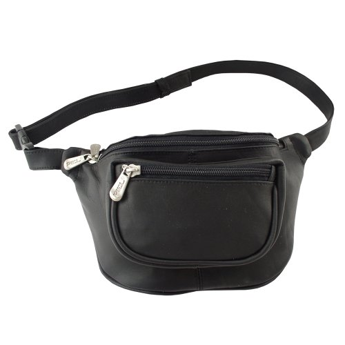 Piel Leather Travelers Waist Bag, Black, One ()
