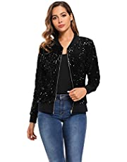LLmansha MS Style Women's Sequin Fitted Long Sleeve Zipper Blazer Bomber Jacket