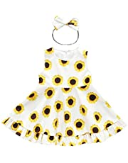LYSMuch Newborn Baby Girls Sunflower Dress Ruffles Sun Skirts Bowknot Headband Outfits Set