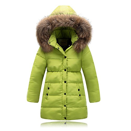 110 Cm Hood (Seeduck Big Girls' Winter Parka Down Coat Puffer Down Jacket Padded Overcoat With Fur Hood (4T=110CM=43.3 Inch, Green))