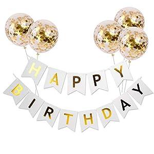 Meowoo Anniversaire Bannière, Banniere Joyeux Anniversaire et 5 pcs Ballons de Confettis , Banner Happy Birthday Ballon…