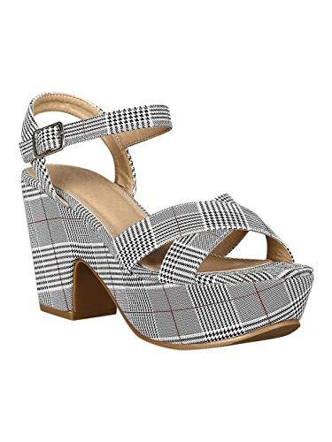 Alrisco Women Crisscross Open Toe Platform Chunky Heel Sandal RD65 - Gingham (Size: 10) - Gingham Platforms