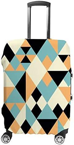 スーツケースカバー 伸縮素材 トランク カバー 洗える 汚れ防止 キズ保護 盗難防止 キャリーカバー おしゃれ カラフル 幾何型の絵 ブルー ポリエステル 海外旅行 見つけやすい 着脱簡単 1枚入り