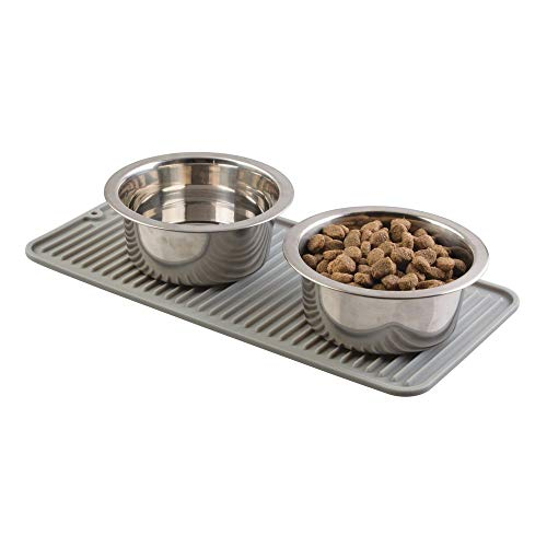 (mDesign Premium Quality Pet Food and Water Bowl Feeding Mat for Dogs and Puppies - Waterproof Non-Slip Durable Silicone Placemat - Food Safe, Non-Toxic - Small - Gray)