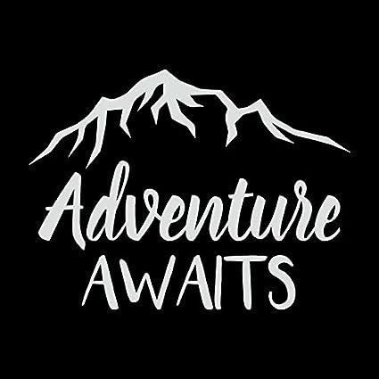 b4a4150f9e79c Amazon.com: Adventure Awaits Mountains Vinyl Decal Sticker | Cars ...