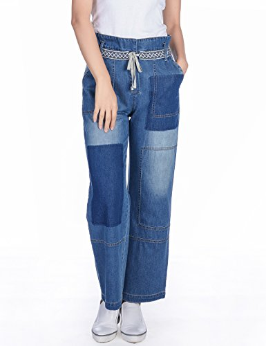Lightweight Flare Leg Jeans (Amee Hanke Women's Wide Leg Patchwork Jeans Pants High Waisted Flare Denim Blue)