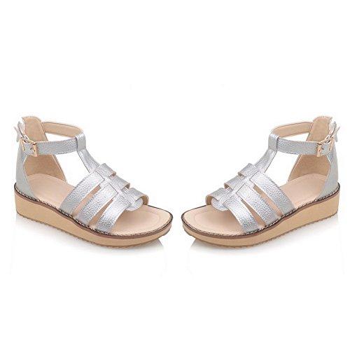 Zehe PU Wedges AllhqFashion Silver Damen Solide Sandals Heels Low Offene Reißverschluss YCPqBCw