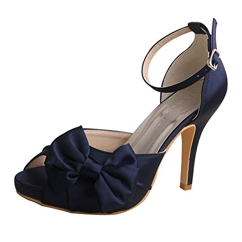 Wedopus MW963 Women's Peep Toe High Heels Pumps Bowtie Pleated Platform Satin Wedding Bridal Shoes Size 7 Navy