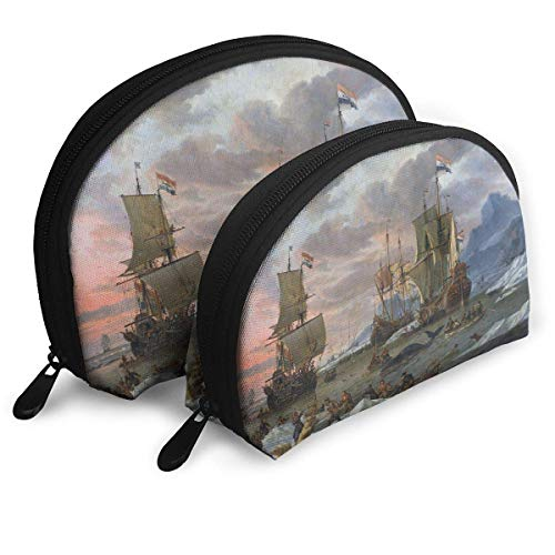 Dutch Whalers Off A Rocky Coast Shell Portable Bags Clutch Pouch Cosmetic Makeup Bag Pouch 2Pcs