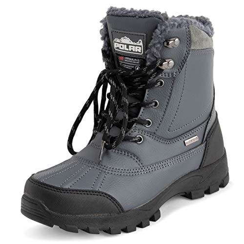 POLAR Mens Thinsulate Fully Lined Waterproof Deep Tread Durable Rubber Shell Thermal Winter Rain Snow Boots - Grey - EU45/US12 - YC0694
