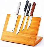 QIKEBamboo Magnetic Knife Block Stand Holder Strong magnetic Compatible with all size knife