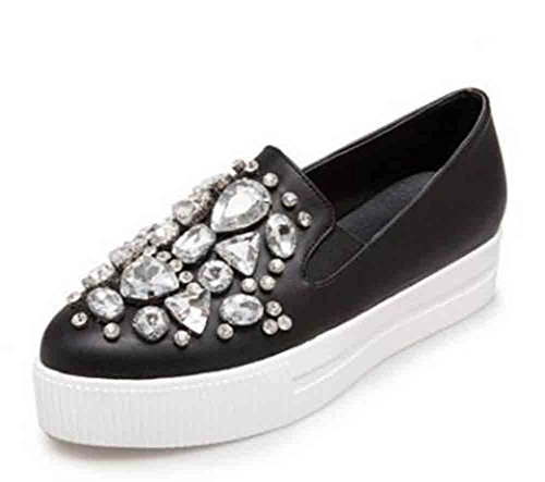 Easemax Donna Strass Trendy Scarpe A Punta Basse Sneakers Con Plateau Basse Nere