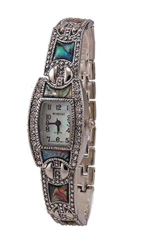 New Vintage Style Marcasite with Abalone Ladies Silver tone Bracelet Watch from Xanadu