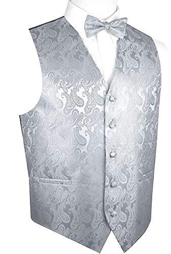 Brand Q Men's Paisley Vest Bow-Tie Set-Silver M]()