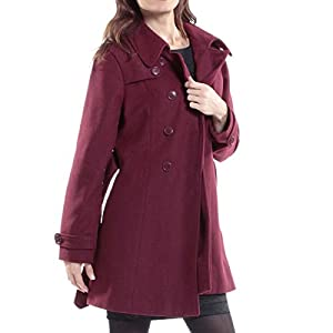 alpine swiss Keira Women's Burgundy Wool Double Breasted Belted Trench Coat Small