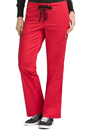 (Med Couture Women's MC2 Layla 2 Cargo Pocket Signature Scrub Pant, Red, Large)