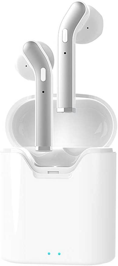 Freesa Bluetooth Earphone Wireless Headphones Mini in-Ear Binaural Callable Headset Portable Earplug Noise Reduction HiFi Sound Sport Run Fitness Office Fashion High Quality Mic (White)