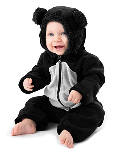 Funzies Baby Bunting Fleece Hooded Romper Bodysuit (BearBlack/White18-24m)]()