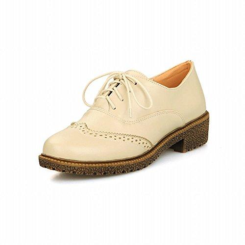 Carolbar Mode Femmes Lace Up Confort Rétro Bout Rond Pu Bas Talon Oxfords Chaussures Beige