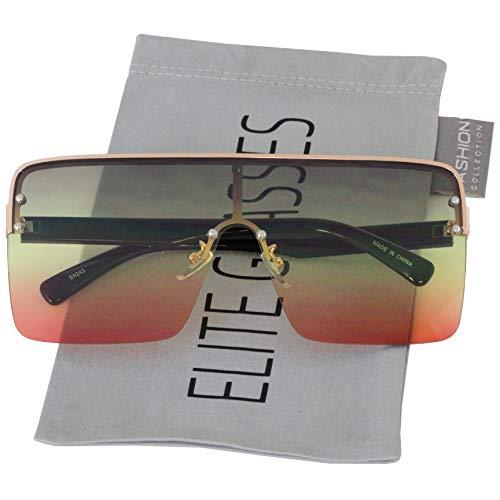 Oversized Flat Top Square VINTAGE RETRO SHIELD VISOR Style Aviator SUNGLASSES (Brown Yellow Orange) (Shield Sunglasses For Men)