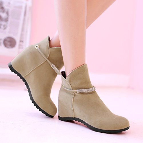 Slip Boots Internal Increased Bootie on Women's Winter Rhinestones with Ankle Autumn AIYOUMEI Beige Wedge Rw6v5qS