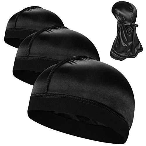 3PCS Silky Stocking Wave Caps, Compression Cap for Men Doo Rag, Award 1 Durag,1G