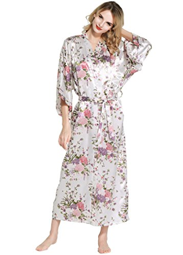 Kimono Cintura Babeyond Floreale Pollici Cm 135 Con Pigiama Donna Lungo 53 Bianco Raso Vestaglia qg58gxw1