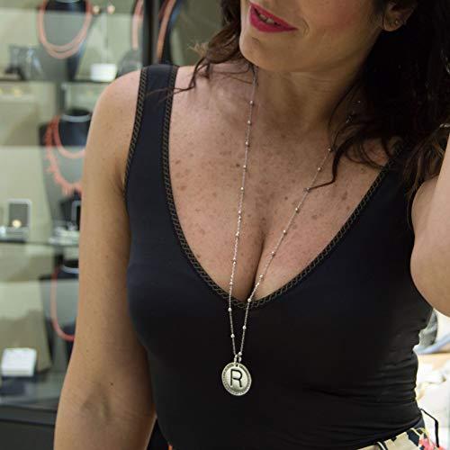 Lettera Rodiata V Zirconi Donna Collana In Regalo Oro Ragazza E Acciaio Bianco Ciondolo Iniziale IaaTFq6WBw