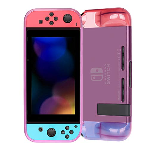 Fintie Grip Case for Nintendo Switch - Soft TPU Protective Cover with Anti-Scratch Shock Absorption Ergonomic Grip Design, Crystal Pink