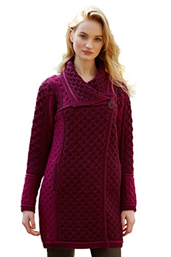 100% Irish Merino Wool Single Button Ladies Plated Coat by Westend Knitwear