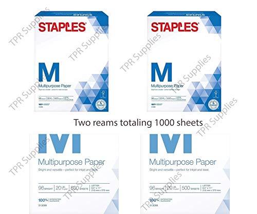 Staples Staples Multipurpose Copy Fax Laser Inkjet Printer Paper, 8 1/2 Inch X 11 Letter Size, 20 Lb. Density, 96 Bright White, Acid Free, 2 Reams Pack, 1000 Total Sheets (513099-2 Ream Multipack)