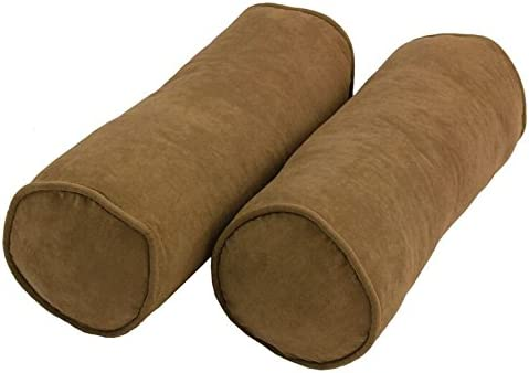 Blazing Needles Double-Corded Solid Microsuede Bolster Pillow Set with Inserts Set of 2 , 20 by 8 , Saddle Brown