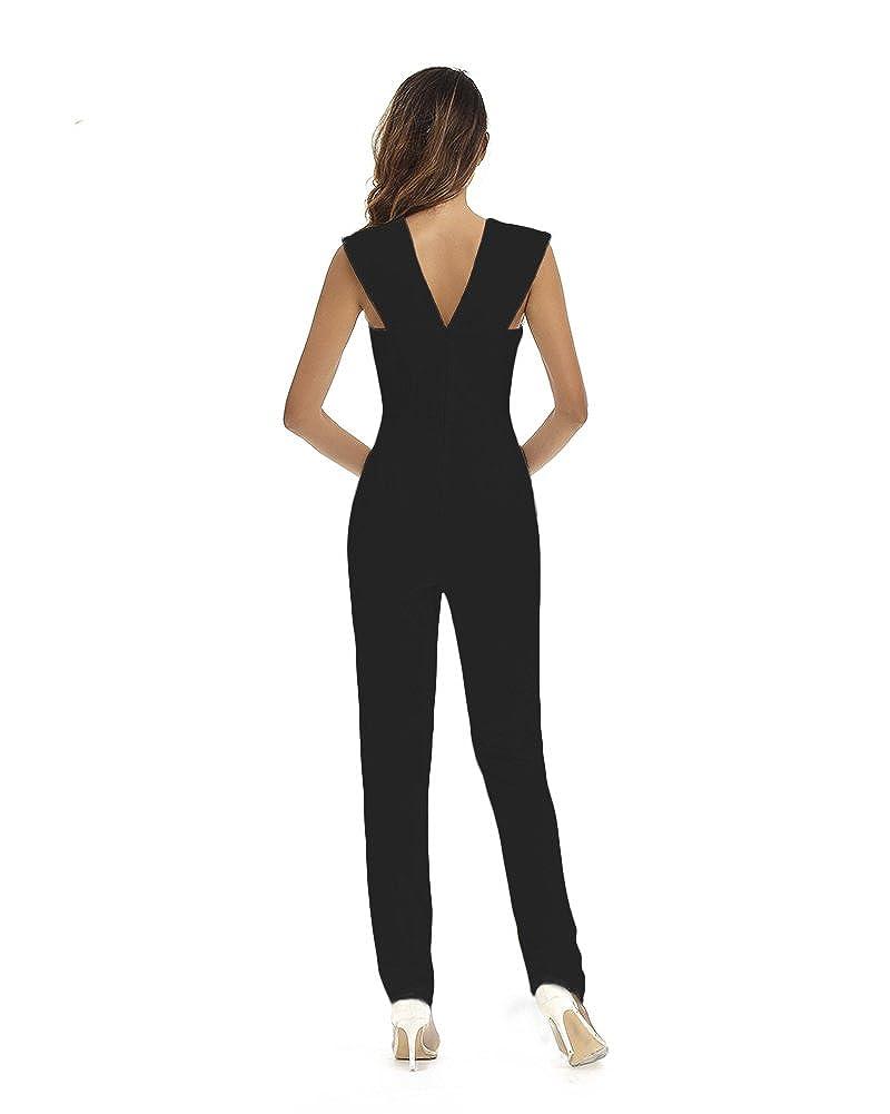 e5a81d7f9 Amazon.com  Whoinshop Women s Sexy Deep V Neck Jumpsuit Stretch Bodycon  Party Romper Pants  Clothing