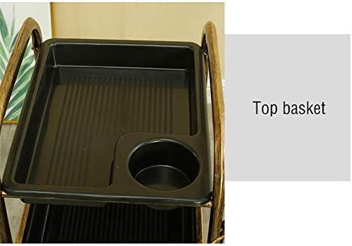 サロントロリーローリングカート ヘアーサロンツールカー理容室理髪内閣専用マルチレイヤホット染色トロリー スタイリスト美容院 (Color : Black, Size : 36x31x82cm)
