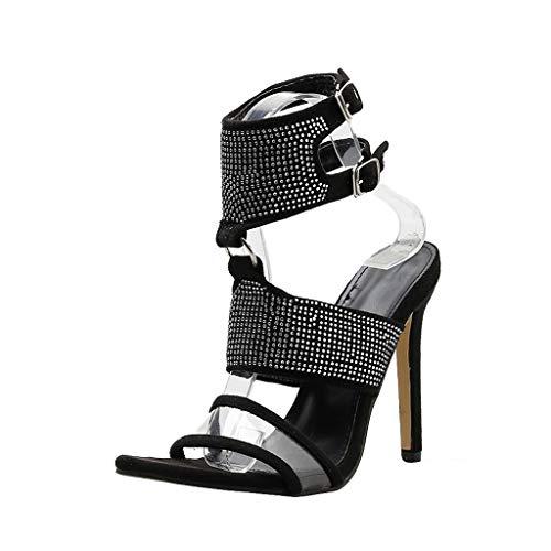 Aunimeifly Ladies Pointed Toe Open-Toes Summer High Heel Sandals Stylish Nightclub Rhinestones Ankle Buckle Stilettos Black - Moda Silk Heels