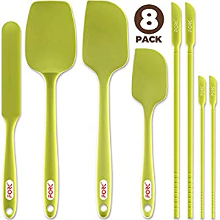 Forc Silicone Spatula Set of 8 include 4 Mini Spatulas, Heat Resistant Rubber Spatula Kitchen Utensils, One Piece Design with Stainless Steel Core, Kitchen Spatulas for Nonstick Cookware, Green
