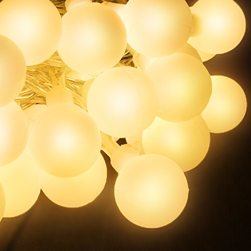 [LED Concepts LED String Globe Lights—100 LED Bulbs with 8 Lighting Modes— UL Listed Power Supply— Perfect Twinkle Lights for Party, Christmas, Café, Decorating, and much more (Warm] (Bollywood Party Decorations)