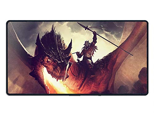 Oversized Mouse Pad with Nonslip Rubber Base Computer Gaming Mouse Pad with Dragon Fire Rider Mouse 23.6