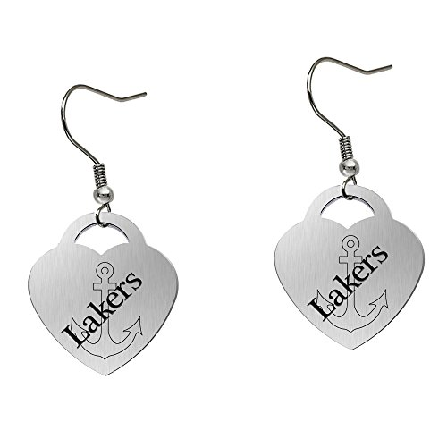 Lake Superior State Lakers Satin Finish Large Stainless Steel Heart Charm Earrings - See Model for Size Reference by College Jewelry