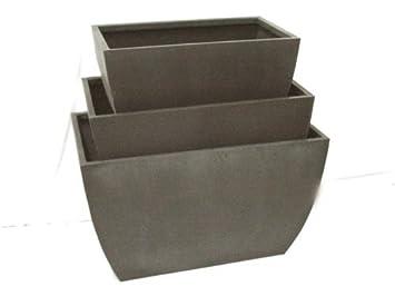 juego maceteros jardineras macetas ancho metal gris