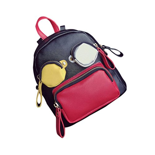 (Hot Sale School Cartoon Backpack,Rakkiss Mini Patchwork Bags Funny Cute Personalized Women Bag Leather Travel Daypacks)