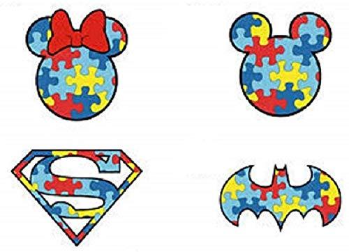 Four (4) Autism Superhero Puzzle Stickers - Laptop, Car Bumper, Truck, Door, Window... -