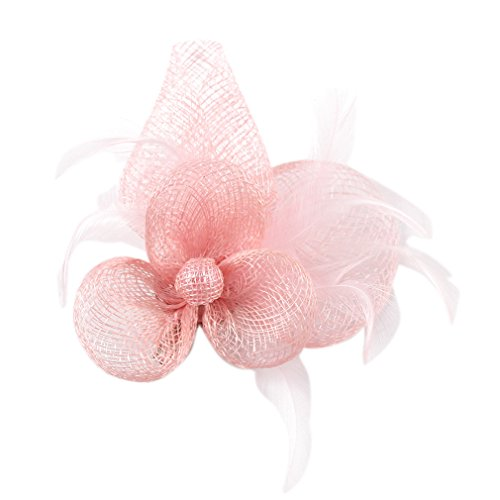 La Vogue Lady Girl Fascinator Cambric Flower Feather Hair Clip Brooch with Pin Light Pink