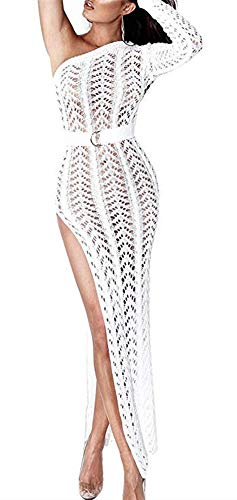 (Speedle One Shoulder Crochet Dresses for Women Beach Long Sleeve Hollow Out Side Split Knit Dress White L)
