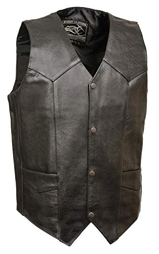 Event Biker Leather Men's Promo Basic Leather Vest (Black, X-Large) ()