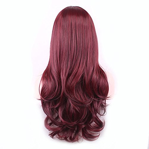 Halowing Wigs Long Wavy Curly Cosplay Wig Heat Resistant Synthetic Hair with Wig Cap( Red )